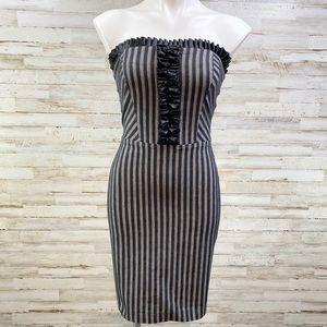 Eva Franco Striped Ruffle Strapless Denim Dress 2